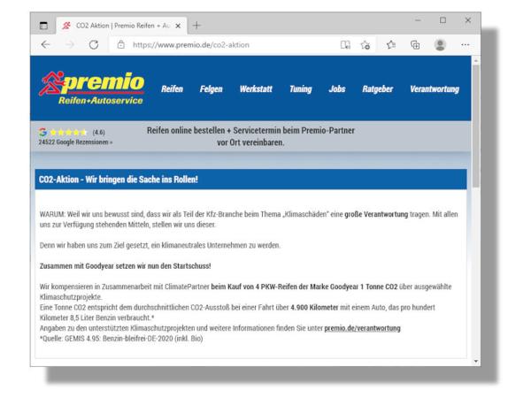 Mehr zu seiner aktuellen, noch bis Jahresende laufenden Aktion rund um die Kompensation von einer Tonne an Kohlendioxidemissionen beim Kauf von vier Pkw-Reifen der Marke Goodyear hält Premio auf seinen Webseiten unter www.Premio.de/co2-aktion bereit (Bild: Screenshot)